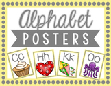 Classroom Alphabet Posters: Yellow and Gray Dots
