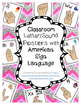Alphabet Posters with American Sign Language Signs, Letters, & Sound Pictures