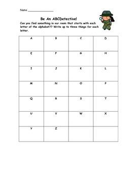 Classroom Alphabet Scavenger Hunt