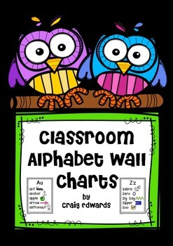 No Prep Classroom Alphabet Wall Charts (Revised)