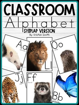 Classroom Alphabet With Real Life Pictures (Shiplap Version)
