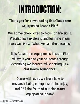 Classroom Aquaponics Lesson Plan