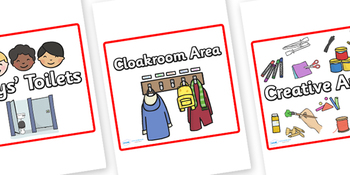 Classroom Area Signs (Red)