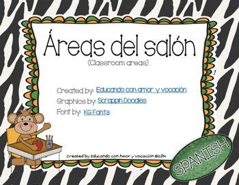 Classroom Areas Safari Theme (SPANISH)