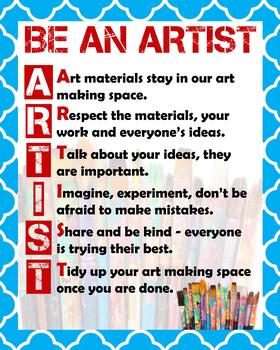 "Classroom Art Rules to ""BE AN ARTIST"""