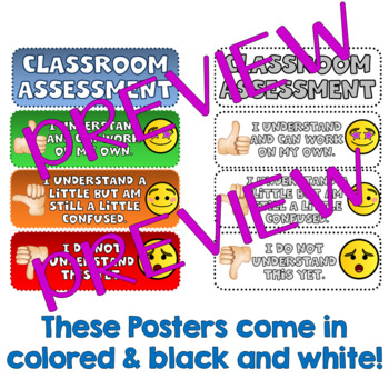Classroom Assessment - Emoji Posters (Thumbs up/down)