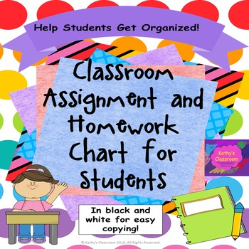 Student Organization - Assignment and Homework Charts!
