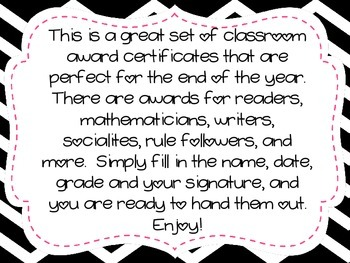 Classroom Award Certificates Freebie Preview
