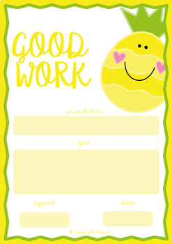 Classroom Award Certificates {Good Work - Fruit Theme}