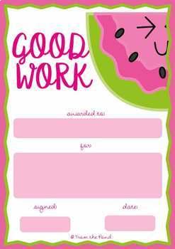 Classroom Award Certificates {Good Work - Fruit Theme}