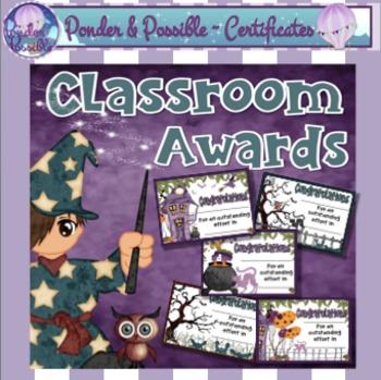 Classroom Awards ~ 12 certificates Halloween Theme
