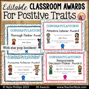 End of Year Awards for Positive Traits