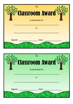 Classroom Awards Certificates Nature Theme for Teachers Positive Classroom