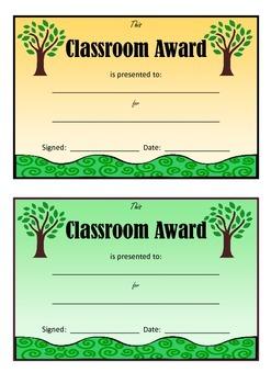 Classroom Awards Certificates Nature Theme for Teachers Po