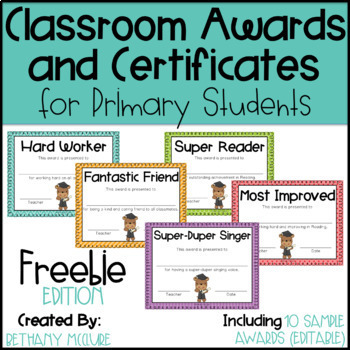 Classroom awards certificates for primary students free for Classroom certificate template