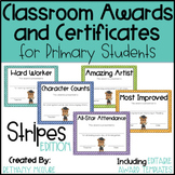 End of the Year Awards Editable Classroom Award Certificates - Stripes