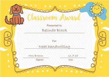 Classroom Awards Farm Animal Theme