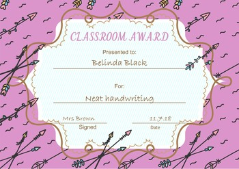 Classroom Awards Feathers and Arrows Theme