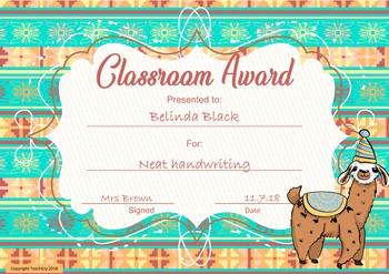 Classroom Awards Llama Theme