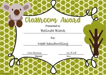 Classroom Awards Zoo Animal Theme