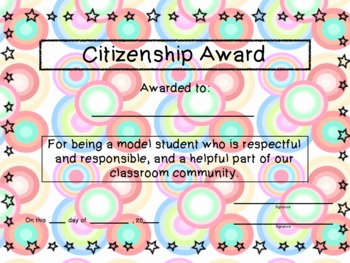 Classroom Awards for Elementary Grades
