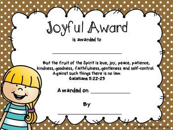 Classroom Awards with Bible Verses: NIV