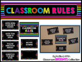 Classroom BRIGHTS Classroom Rules Posters {Editable}
