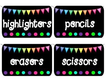 Classroom BRIGHTS Shoe Box School Supply Labels