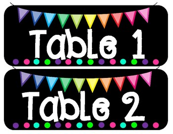 Classroom BRIGHTS Table Group Labels
