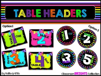 Classroom BRIGHTS: Table Headers