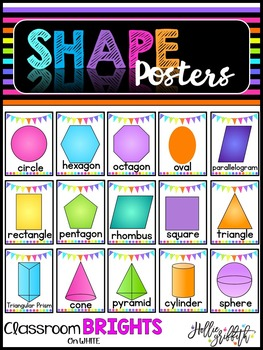 Classroom BRIGHTS {on white} 2D and 3D Shape Posters