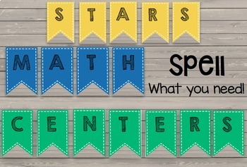 Classroom Banner - Alphabet - Centers - Number Lines EDITABLE Bulletin Board