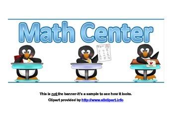 Classroom Banner-Math Center-Math Penguin Theme