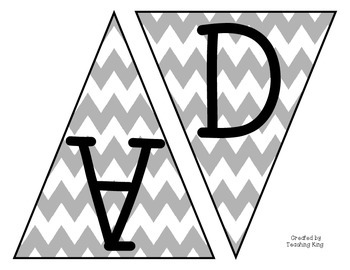 Classroom Banner Pennants Gray Chevron Labels Signs