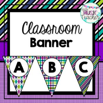 Classroom Banner: Purple, Teal, Green & Blue Patterns