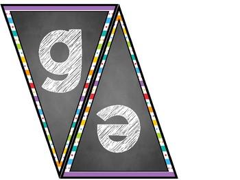Classroom Banner Set (Chalkboard and Rainbow Stripe 2)