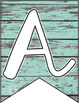 Classroom Banner: Turquoise Wood Script Font Edition