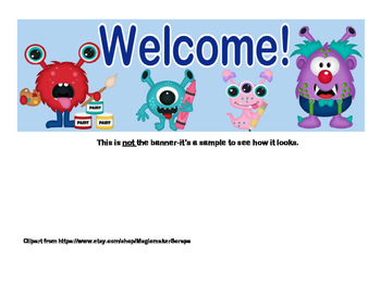 Classroom Banner-Welcome - Silly School Monster Theme