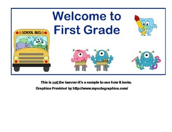 Classroom Banner-Welcome to First Grade-Monster Theme