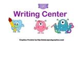 Classroom Banner-Writing Center-Monster Theme