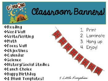 Camping Inspired Classroom Banners