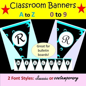 Classroom Banners - Black and Teal - A to Z