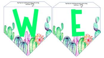 Classroom Banners- Cactus Theme EDITABLE