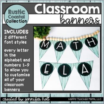 Classroom Banners {Rustic Coastal}