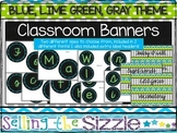 Classroom Banners/ Subject Headers- Blue Green Gray Chalkboard Theme