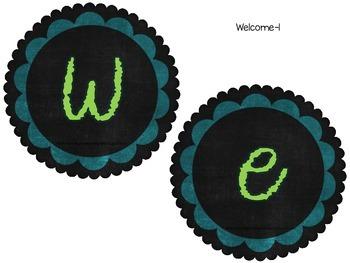 Classroom Banners/ Subject Headers- Blue Green Gray Chalkboard Theme