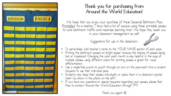 Classroom Bathroom Pass Printable [Editable Version] / Classroom Management Tool