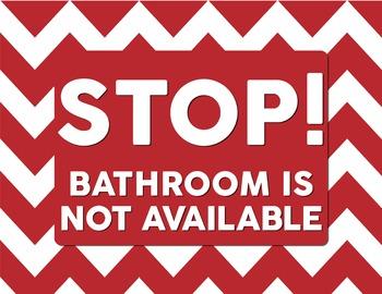 Classroom Bathroom Stop! or Go! signs