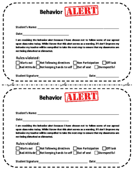 Classroom Behavior Alert