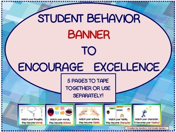 Classroom Behavior Banner to Display All Year!  Use Daily for Reminders